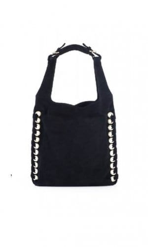 Black Suede Hobo Bucket Bag With Eyelet Detail By Lebulga