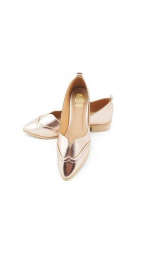 Pink Gold PU Leather Loafer By Seira Elves