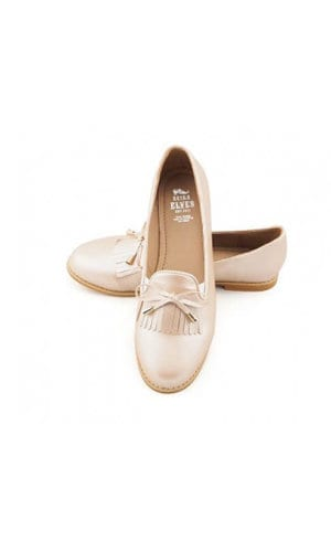 Pink Gold Leather Loafers By Seira Elves