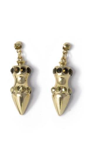 Rhineston Dash Gold Plated Earrings