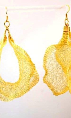 Gold Mesh Wire Earrings