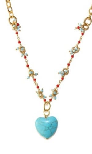 Heart Shaped Turquoise and Coral Necklace