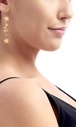 18K Gold Star Long Earrings By Lily Flo