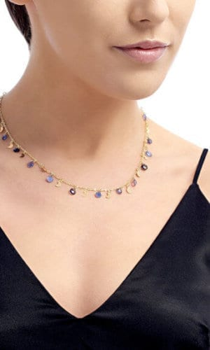 18 Carat Gold Necklace With Blue Pearls