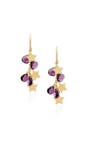 Star Chandelier Earrings With Purple Beads By Lily Flo
