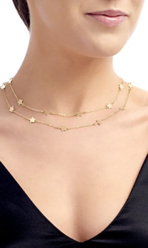 Double Strand Gold Necklace With Star Pendants By Lily Flo