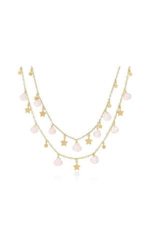 Astra Rose Quartz And Star Double Strand Bib Necklace By Lily Flo