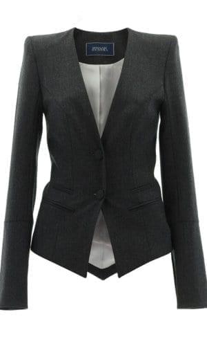 Button Collarless Slim Jacket Stefanie Renoma