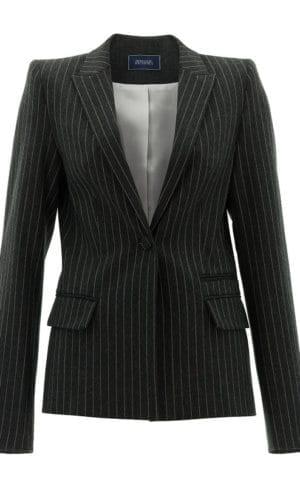 Grey Slim Fit Pinstripe Blazer By Stefanie Renoma