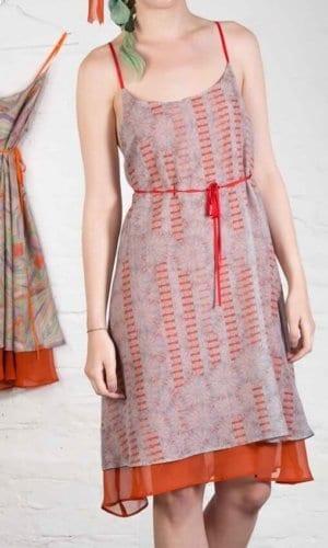 Reversible Coral Silk Dress By Clara Kaesdorf