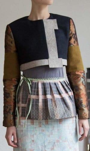 Cropped Contrast Wool Jacket By Clara Kaesdorf