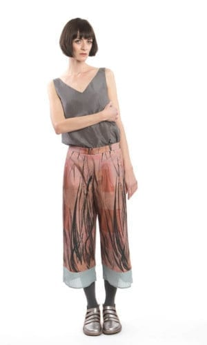 Cropped Feather Culotte Trousers By Clara Kaesdorf