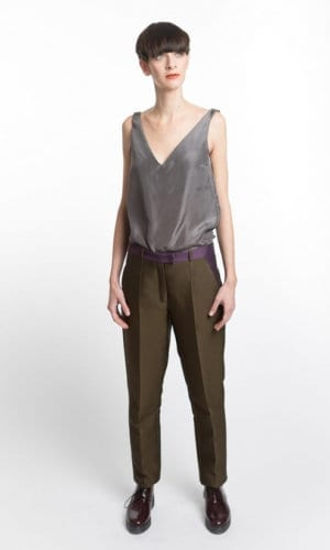 Slim Green And Purple Trousers By Clara Kaesdorf