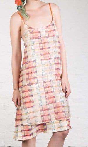 Checkered Silk Dress By Clara Kaesdorf