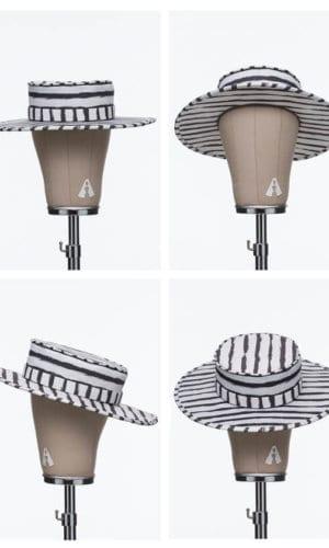 White Striped Chalk Hat By Bruna Abreu