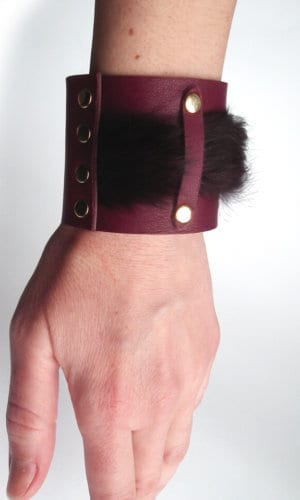 Burgundy Leather Bracelet By Mikashka
