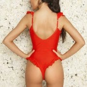 Red Ruffle Swimsuit