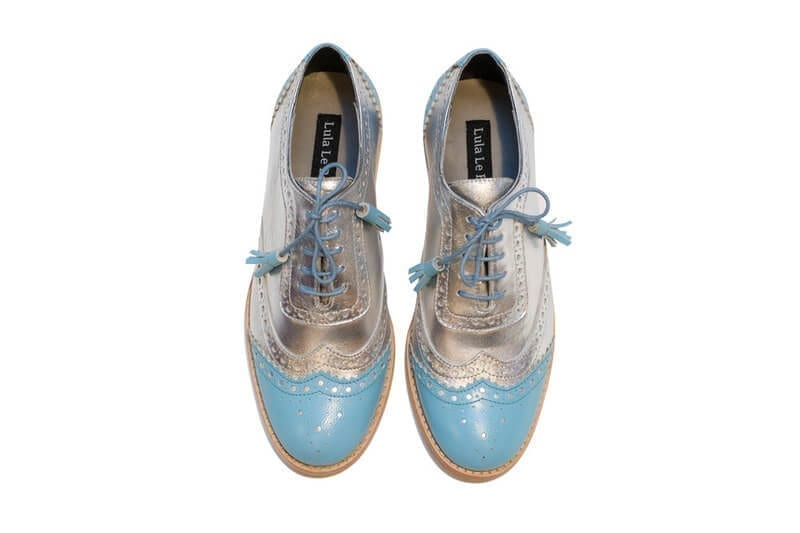 womens silver and blue brogues modafirma