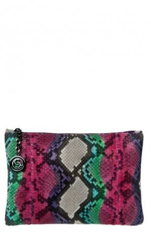 Pink Multi-Colour Python Amsterdam Clutch By Cashhimi