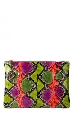Orange Multi-Colour Python Amsterdam Clutch By Cashhimi