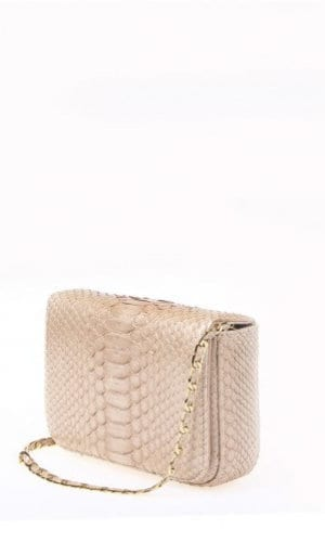 Nude Downing Python Crossbody Bag By Cashhimi