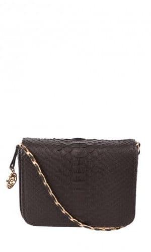 Black Downing Python Crossbody Bag By Cashhimi