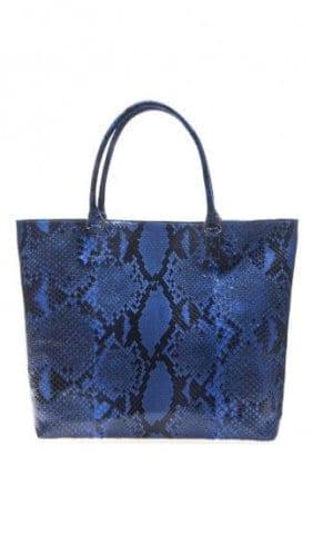 Blue Python Roxbury Tote Bag By Cashhimi