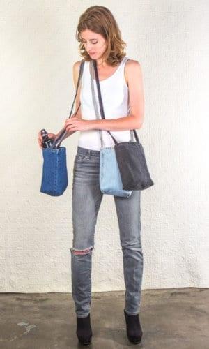 Denim Bottle Bag By Silk Denim