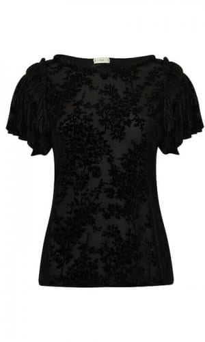Black Ruffle Tee By A-MM-E