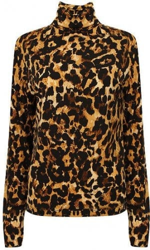 Leopard Print Roll Neck Jumper By A-MM-E