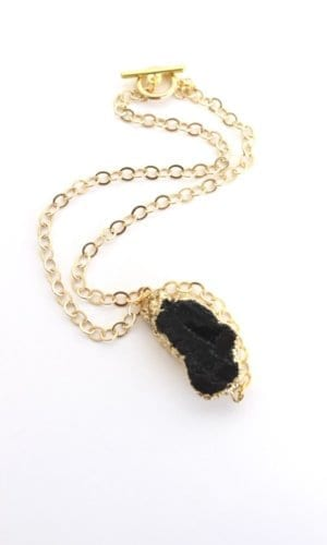 Black Agate Necklace Crystal and Sage