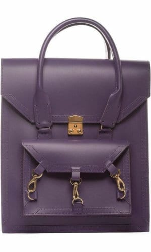 Medium Leather Bag in Purple