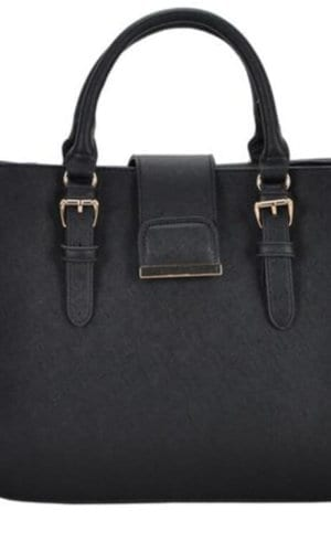 Black Vegan Leather Shoulder Handbag