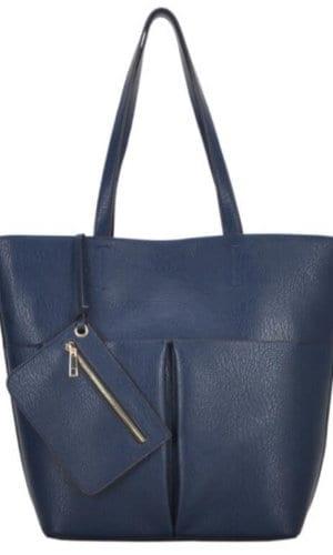 Blue Vegan Leather Tote Bag
