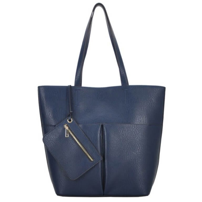 Blue Vegan Leather Tote Bag