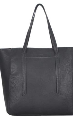 black vegan tote bag