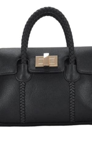 Black Vegan Leather Crossbody Handbag