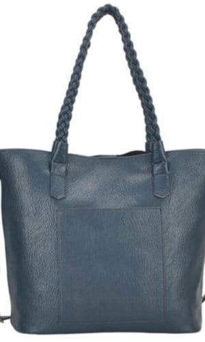Teal Blue Vegan Leather Tote Bag
