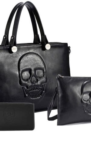 Black Vegan Leather Bag Set