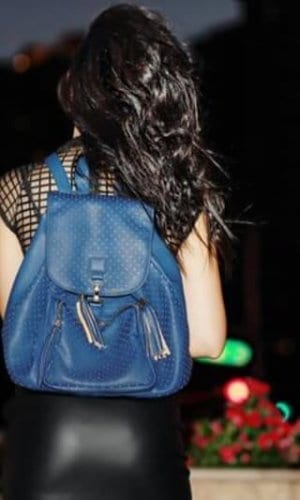 Blue Vegan Leather Backpack