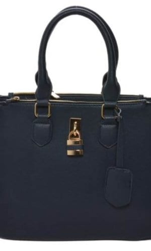 blue vegan leather handbag