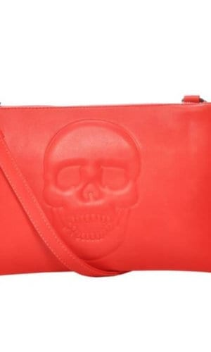 Red Vegan Leather Clutch