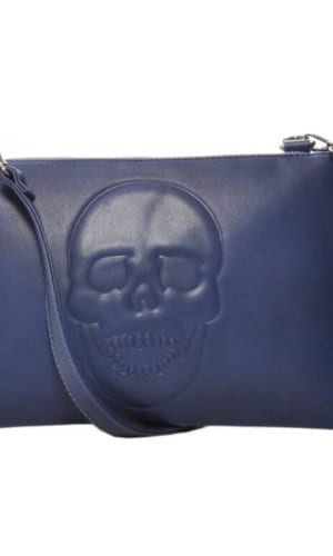 Blue Vegan Leather Clutch