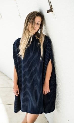 Dark Blue Poncho Dress