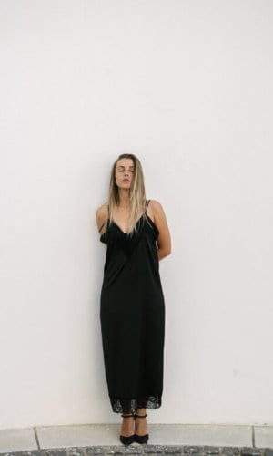Black Bareback Silk Maxi Dress