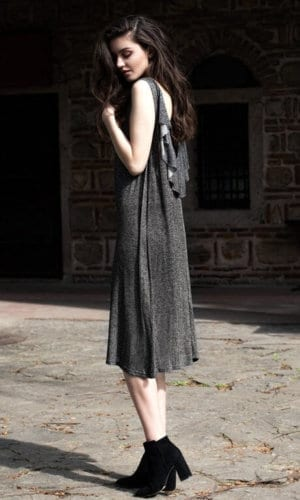 Bareback Grey Midi Dress