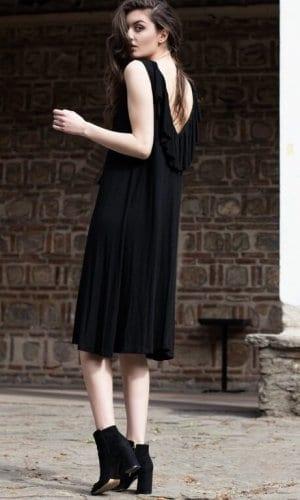 Black Ruffle Bareback Dress