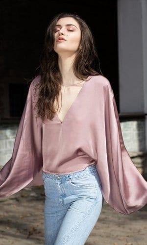 Pink Silk Cape Shirt
