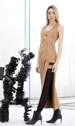 Brown Suede Maxi Dress