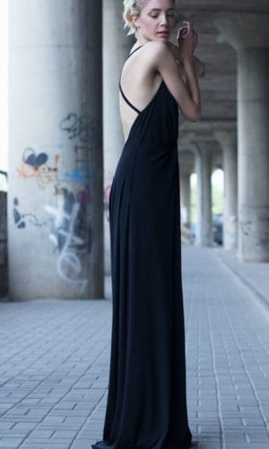 Black Plunging Neckline Maxi Dress